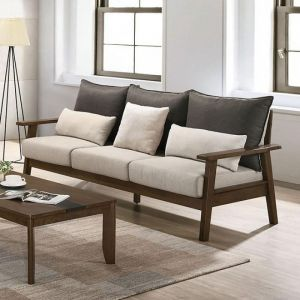 Louis Light Walnut Charcoal Beige Sofa