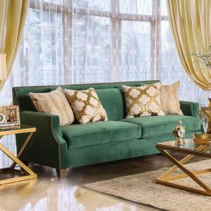 Verdante Emerald Green Gold Sofa