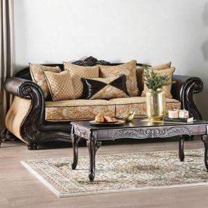 Aislynn Gold Espresso Sofa
